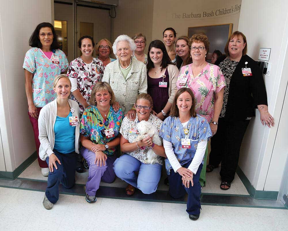 Mrs. Bush with the care team