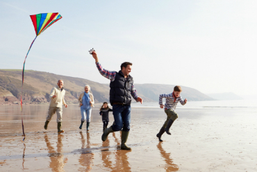 Family Flying Kite on Beach category callout