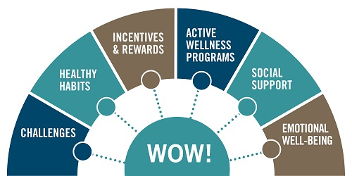 WOW half wheel showing the balance between challenges, health habits, incentives & rewards, active wellness programs, social support, and emotional well-being