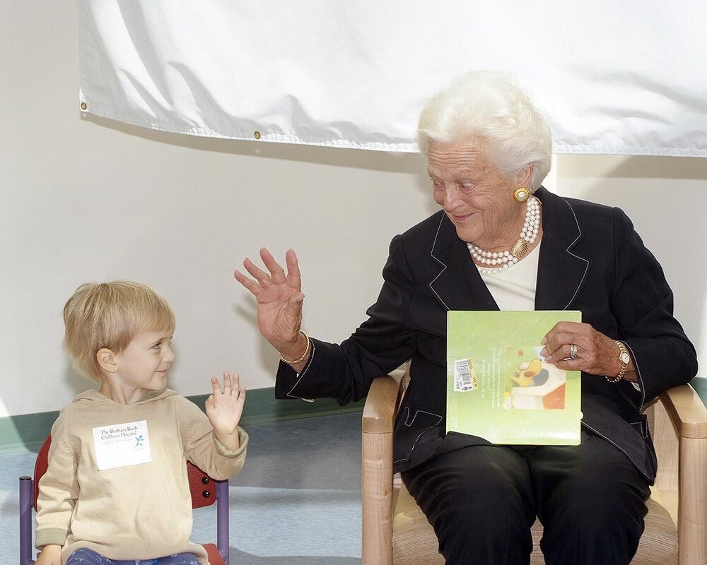 Barbara Bush waves