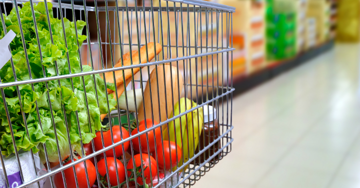 Shopping cart filled with healthy food