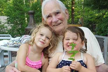 grandfather with two grandkids