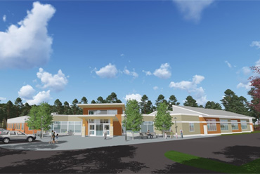 Architectural rendering of the Center of Excellence in Autism and Developmental Disorders