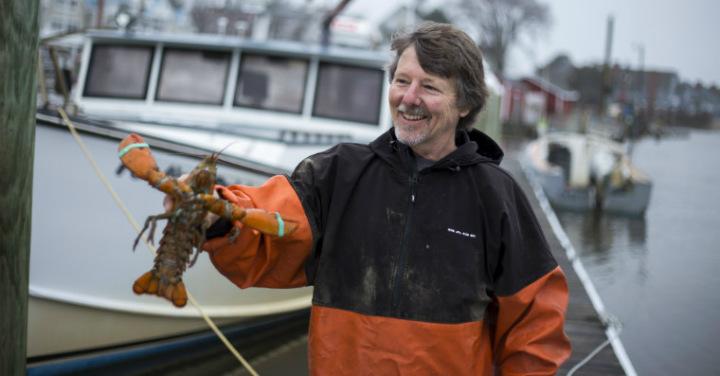 Lobsterman holding a lobster by ocean