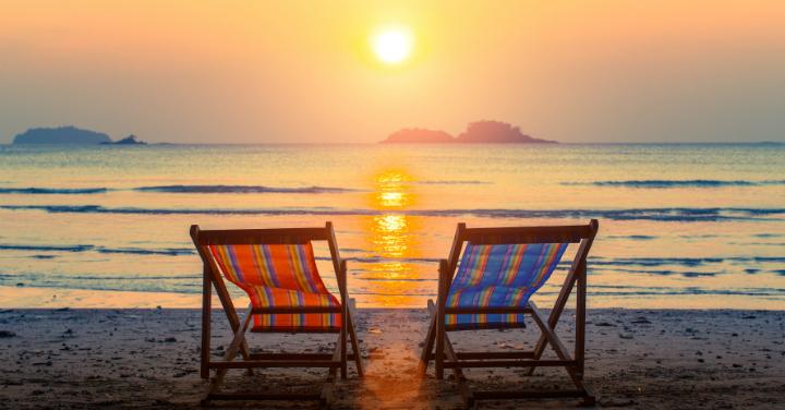 Pair of Beach Loungers on Deserted Coast
