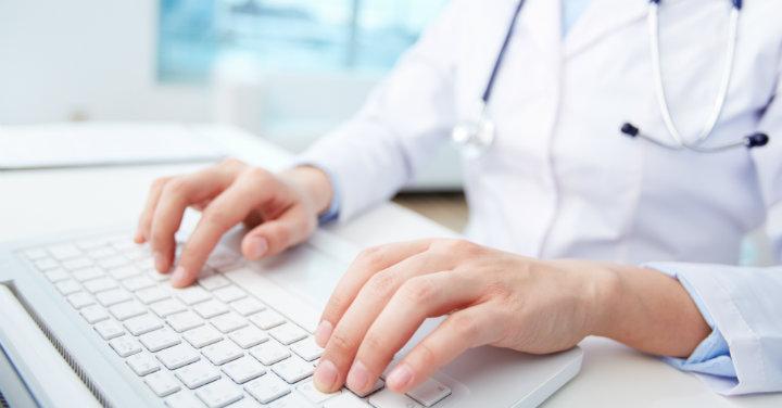 Provider at a keyboard