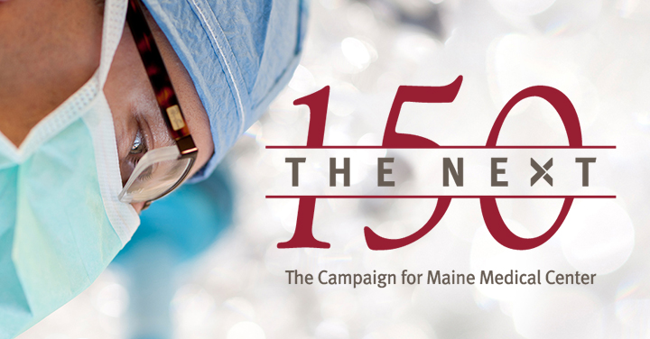 side profile of a doctor wearing a mask looking downwards next to the NEXT 150 campaign logo